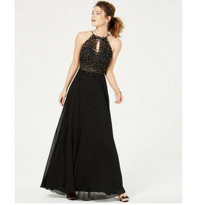 Blondie Nites 7 Black Rhinestone Gown NWT BX37